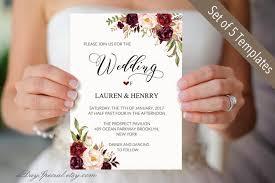 Wedding Invitation Set Templates 5 Burgundy Floral Wedding Invitation Templates Printable Wedding