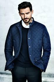 hm mens coats dark blue quilted jacket with corduroy lined stand up collar and men hm