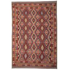 afghan kilim rugs patterned rug in ivory green color