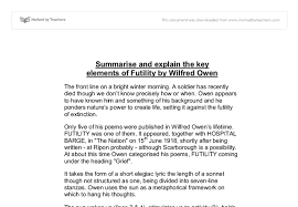 summarise and explain the key elements of futility by wilfred owen document image preview