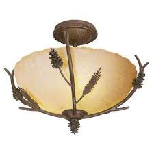 lodge 17 in 3 light weathered spruce semi flushmount with sunset glass shade