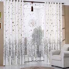 White Patterned Curtains Classy Interior White Patterned Curtains Printed Tree Pattern In Coffee