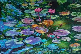 pink painting pink water lilies and lily pads by john clark