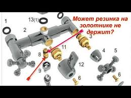 Течёт <b>душ</b> когда включён кран. Капает вода из переключателя ...