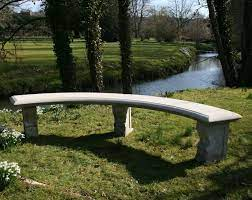 double length ivy curved stone bench