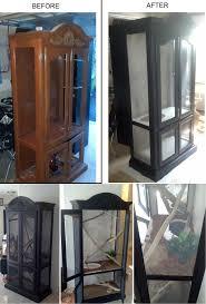 terrarium furniture. turning an old curio cabinet into a custom reptile enclosure to look more appealing the terrarium furniture