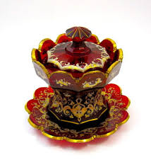 high quality antique bohemian ruby red glass bowl cover and plate