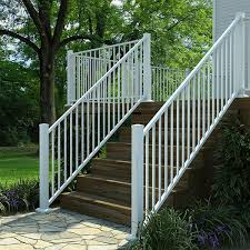 metal handrails for deck stairs. fortress al13 aluminum deck railing for stairs in gloss white with posts, and metal handrails r