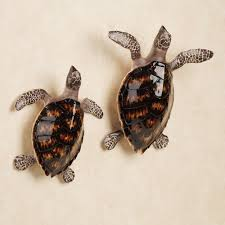 Sea Turtle Bathroom Accessories Table Sculptures First Swim Sea Turtle Accent Set For Wall Or