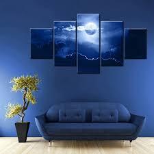 5 panels paintings full moon hanging on the dark blue sky sea trees moonlight night modern