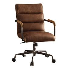 acme harith leather swivel office chair in retro brown
