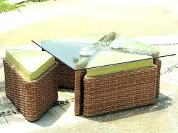 outdoor wicker coffee table with glass top rattan round image of glas
