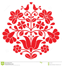 Hungarian Folk Embroidery Designs Kalocsai Red Embroidery Hungarian Floral Folk Pattern With