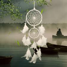 Dream Catcher Group Home Dream Catcher white two loop Feather Pendant Home wall Hanging 11