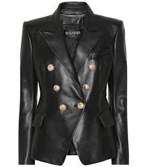 balmain clothing double ted leather blazer black ruat190