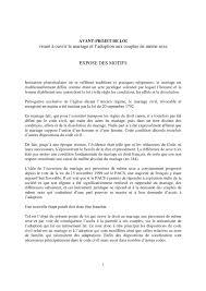 Calam O Expos De Motifs De L Avant Projet De Loi Visant Droit Civil Les Effets Du Mariage