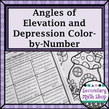 Angl Es Trigonometry Angles Of Elevation Depression Color By Number Tpt