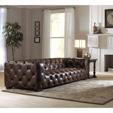 Living Room With Chesterfield Sofa Living Room Exceptional Dark Brown Button Tufted Leather Long