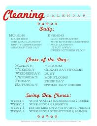 Weekly Household Cleaning Schedule Daily House Cleaning Schedule Housekeeping Daily Weekly Monthly