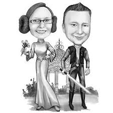 Details About Custom Star Wars Couple Caricarure From Photo Or Star Wars Wedding Invitation