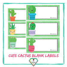 Cute Cactus Blank Labels The Teacher Hero