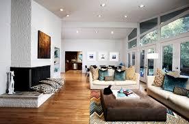 modern rugs living room midcentury with corner fireplace built in shelves