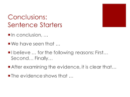 persuasive writing ppt 22 conclusions sentence starters