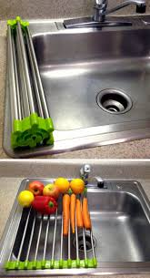 Kitchen Sink Drain Rack Multifunctional High Quality Stainless Steel Folding Drainer Rack