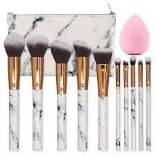 seprofe make up brushes 10 pieces marble pattern professional makeup brush set kabuki foundation blending concealer