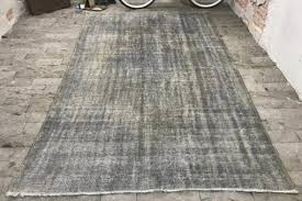 gray overdyed rug 5 8 9 4ft vintage turkish rug distressed rug oushak rug big size rug sal