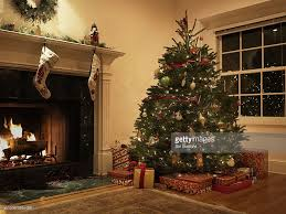 Christmas tree in living room : Stock Photo