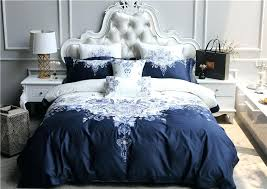 white king size duvet cover 4 blue cotton luxury royal bedding set oriental embroidery queen bed