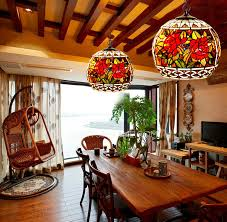 Delightful Decorative Rose Pattern Stained Glass Global Kitchen Pendant Light Great Pictures