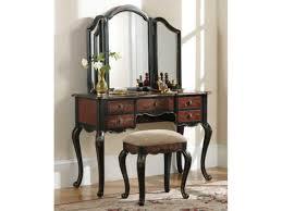 black bedroom vanity with tri fold mirror ideas