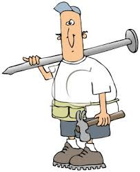 toolbelt clipart. royalty free clip art image: builder carrying a hammer and huge nail wearing tool belt toolbelt clipart