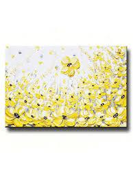 yellow white and gray wall art