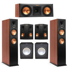 klipsch home theater. klipsch 5.2 cherry system with 2 rp-260f tower speakers, 1 rp-250c home theater