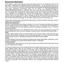 executive summary format for project report green emotion project deliverables evaluations demonstrations