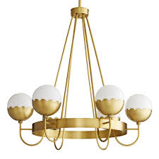 ask question about celerie kemble collection by arteriors six light antique brass cleo chandelier with scallop design