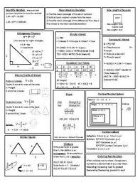 7th Grade Math Staar Reference Chart 8th Grade Math Staar Review Study Sheet 8th Grade Math Math