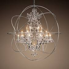 pretty inspiration ideas orb crystal chandelier foucault s from restoration hardware polished nickel extra large