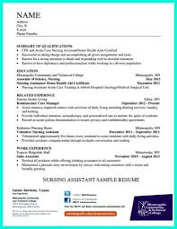 Objective For Nursing Assistant Resume Free Cna Examples Job