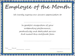 Employee Of The Month Certificate Template Word Sample Employment