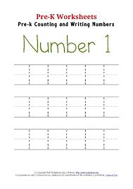 Writing Number 1 Worksheet | Pre K Worksheets Org