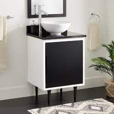 24 Bivins Vessel Sink Vanity Black White Bathroom