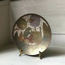 decorative brass bowl vintage scenic wall plate woman and bird bra metal plates decorative plates for wall