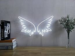 angel wings real glass neon sign for