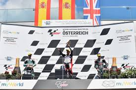 FIM - Fédération Internationale de Motocyclisme - JAUME MASIA SPA / ALBERT  ARENAS SPA / JOHN McPHEE GBR Podium Moto3 GP Austria 2020 (Circuit Red Bull  Ring) 14-16.8.2020 photo: Lukasz Swiderek @photopsp_lukasz_swiderek