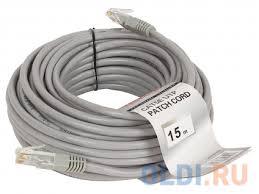 "<b>Патч-корд литой</b> ""<b>Telecom</b>"" <b>UTP</b> кат.5е 15,0м серый NA102--15M ..."