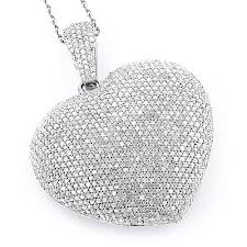 large 14k gold fully paved puffed diamond heart pendant necklace 3 75ct main image